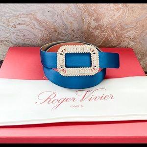 Roger Vivier Pilgrim Crystal Buckle Blue SatinBelt
